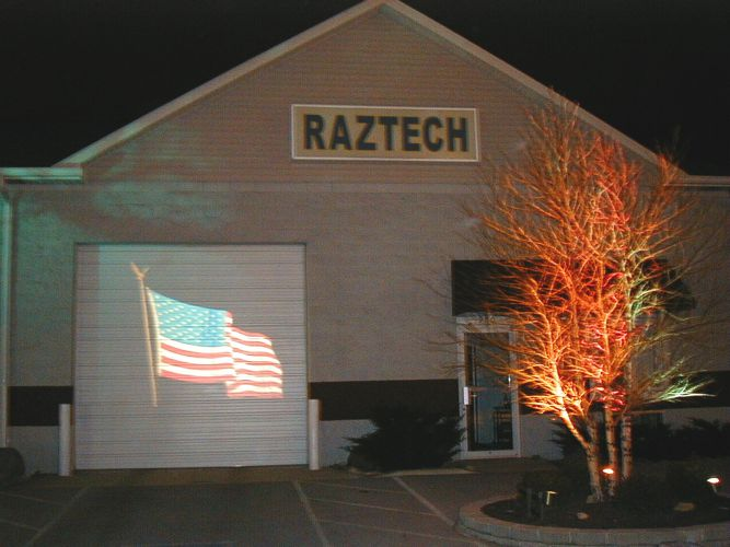 RazTech Lighting factory projecting the American flag